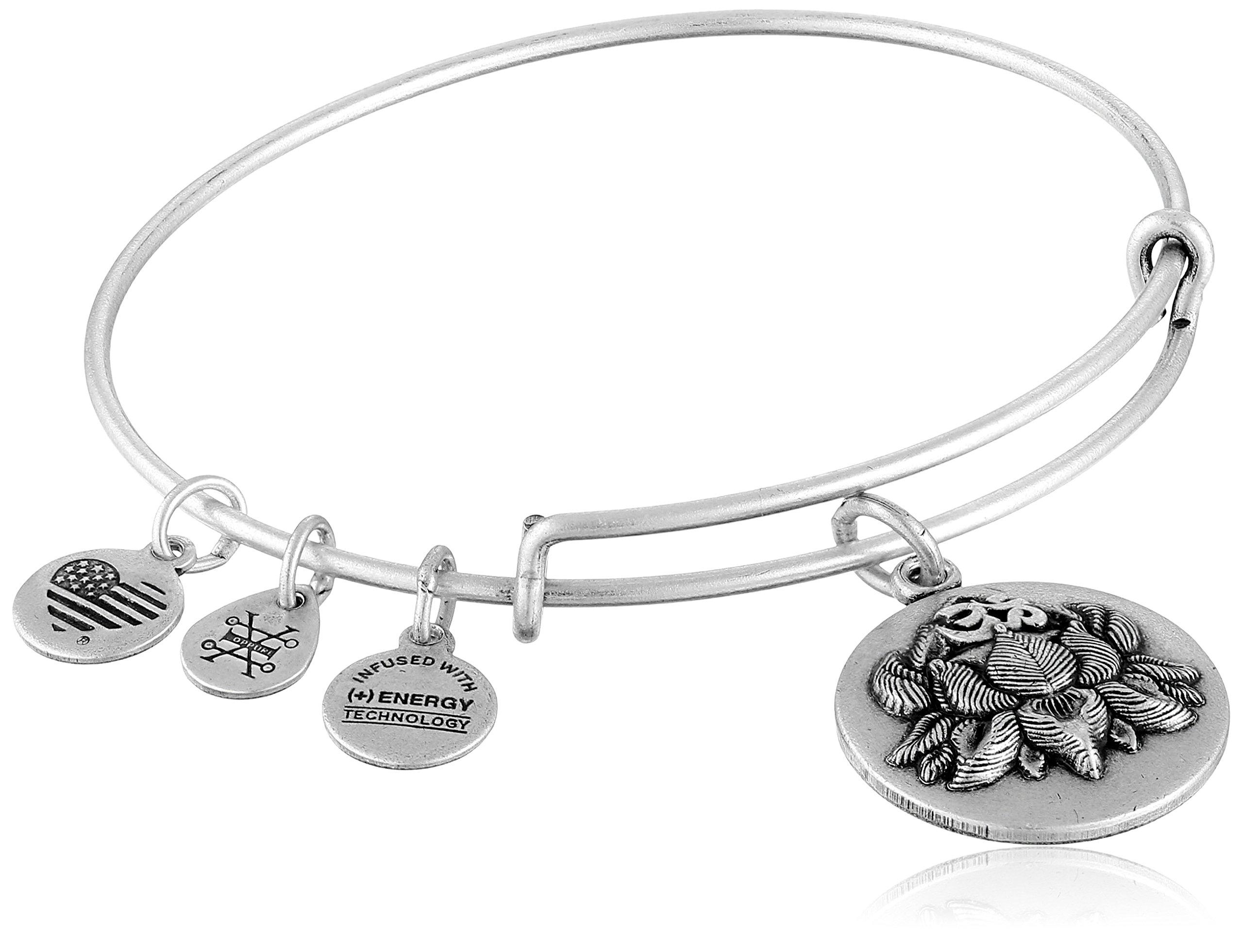 Alex and Ani Lotus Peace Petals III Expandable Rafaelian Silver Bangle Bracelet