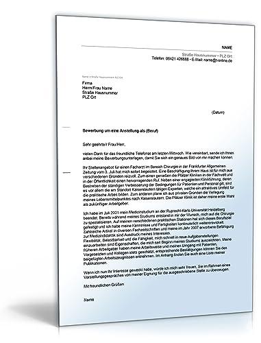Anschreiben Bewerbung Arzt Word Dokument Download Amazonde
