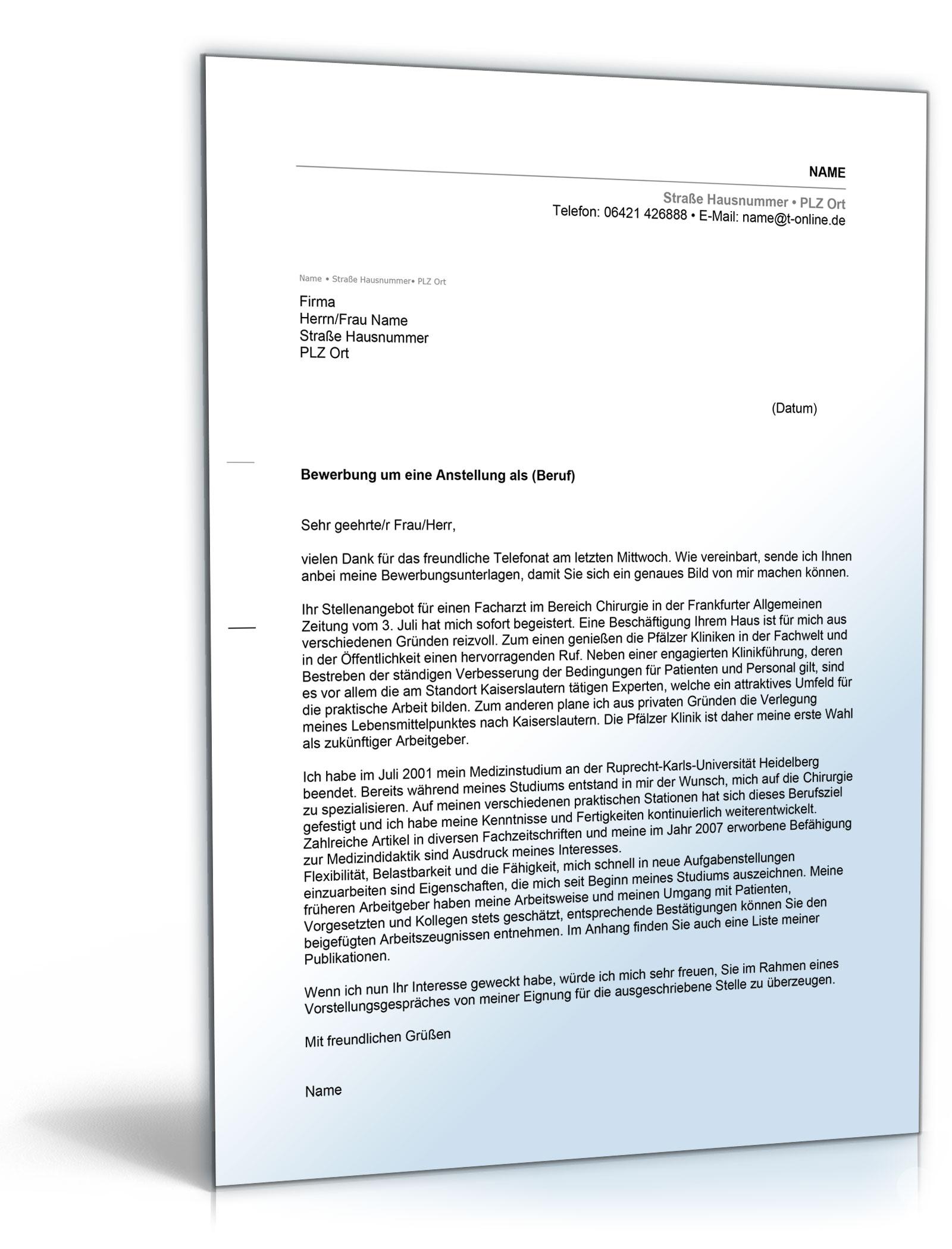 anschreiben bewerbung arzt word dokument download amazonde software - Anschreiben Fr Initiativbewerbung