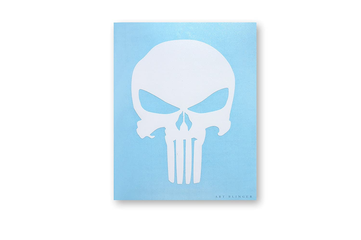 The PUNISHER SKULL CRÁ NEO White Blanco Rub-On Frote-On STICKER ETIQUETA Marvel Comics Officially Licensed Movie & TV Artwork, 5.75' x 4.5' - Long Lasting STICKER ETIQUETA 5.75 x 4.5 - Long Lasting STICKER ETIQUETA