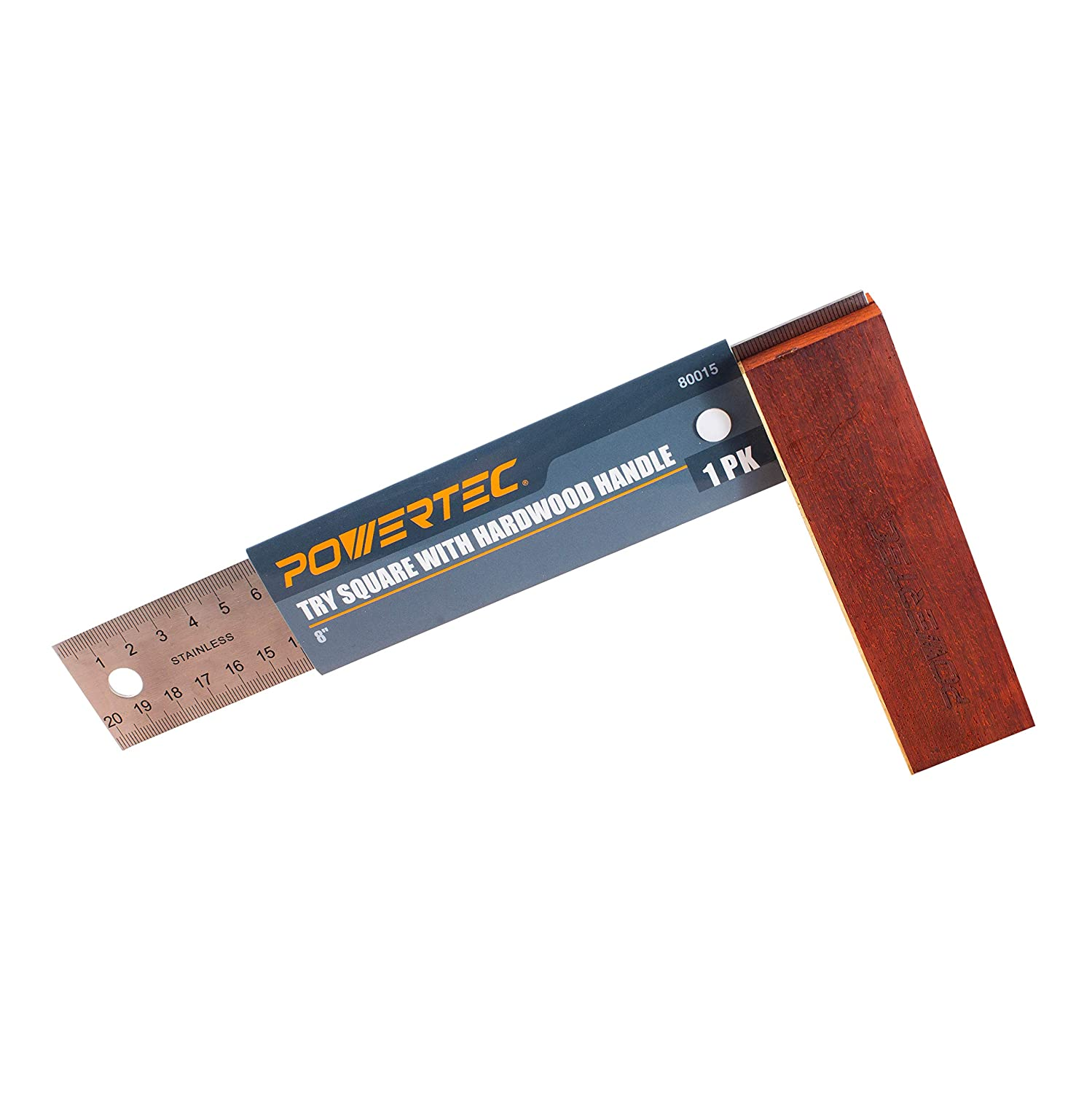 Premium Stainless Steel Ruler The Ultimate Gift for any Woodworking Shop Brass Bound Handle POWERTEC 80015 Try Square With Hardwood Handle A Carpenter/'s and Machinist/'s Essential 8 Inch