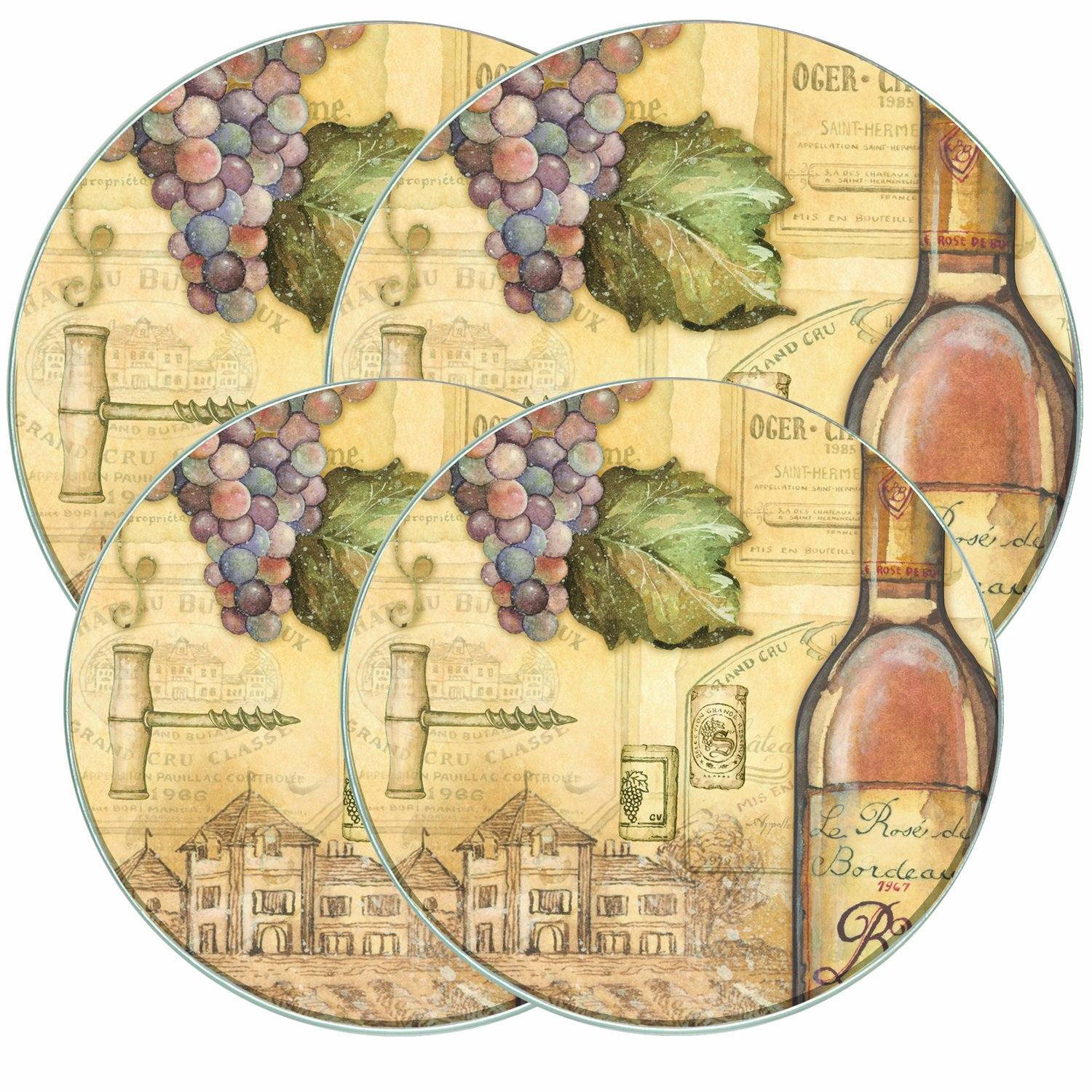Range Kleen 5062 4 Pack Tuscany Wine Round Burner Covers with 2 8.5 Inch and 2 10.5 Inch
