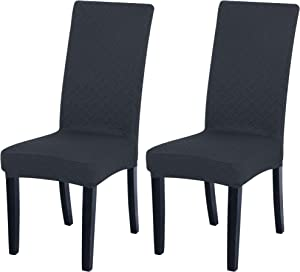 PiccoCasa Set of 2 Dining Chair Slipcovers Stretch Jacquard Dining Chair Covers Diamond-Pattern Lattice Chair Slipcover Removable Washable Chair Covers for Dining Room,Dark Grey
