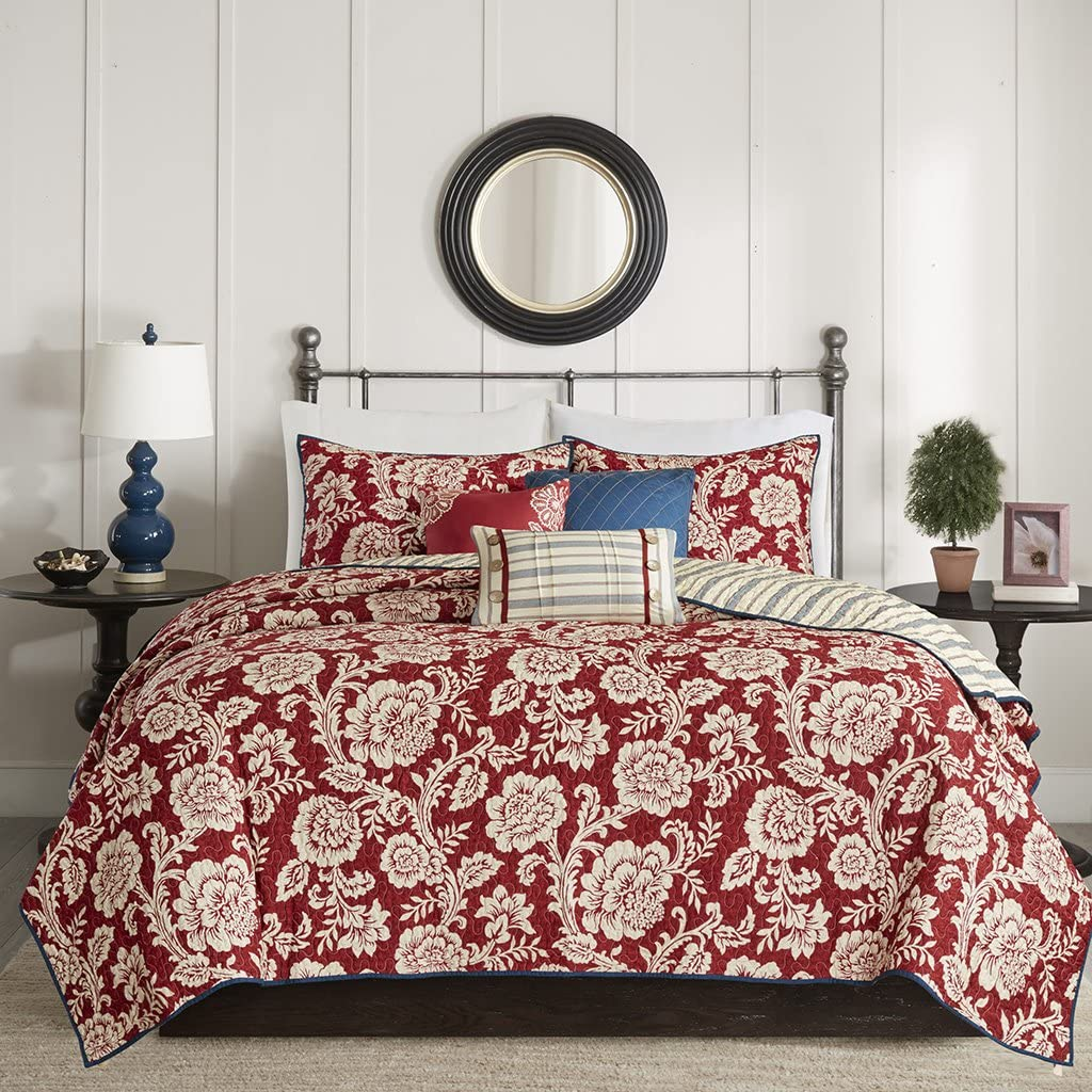 Madison Park Lucy Full/Queen Size Quilt Bedding Set - Red, Navy , Reversible Floral, Stripes – 6 Piece Bedding Quilt Coverlets – Cotton Twill, Cotton Poly Blend Reverse Bed Quilts Quilted Coverlet