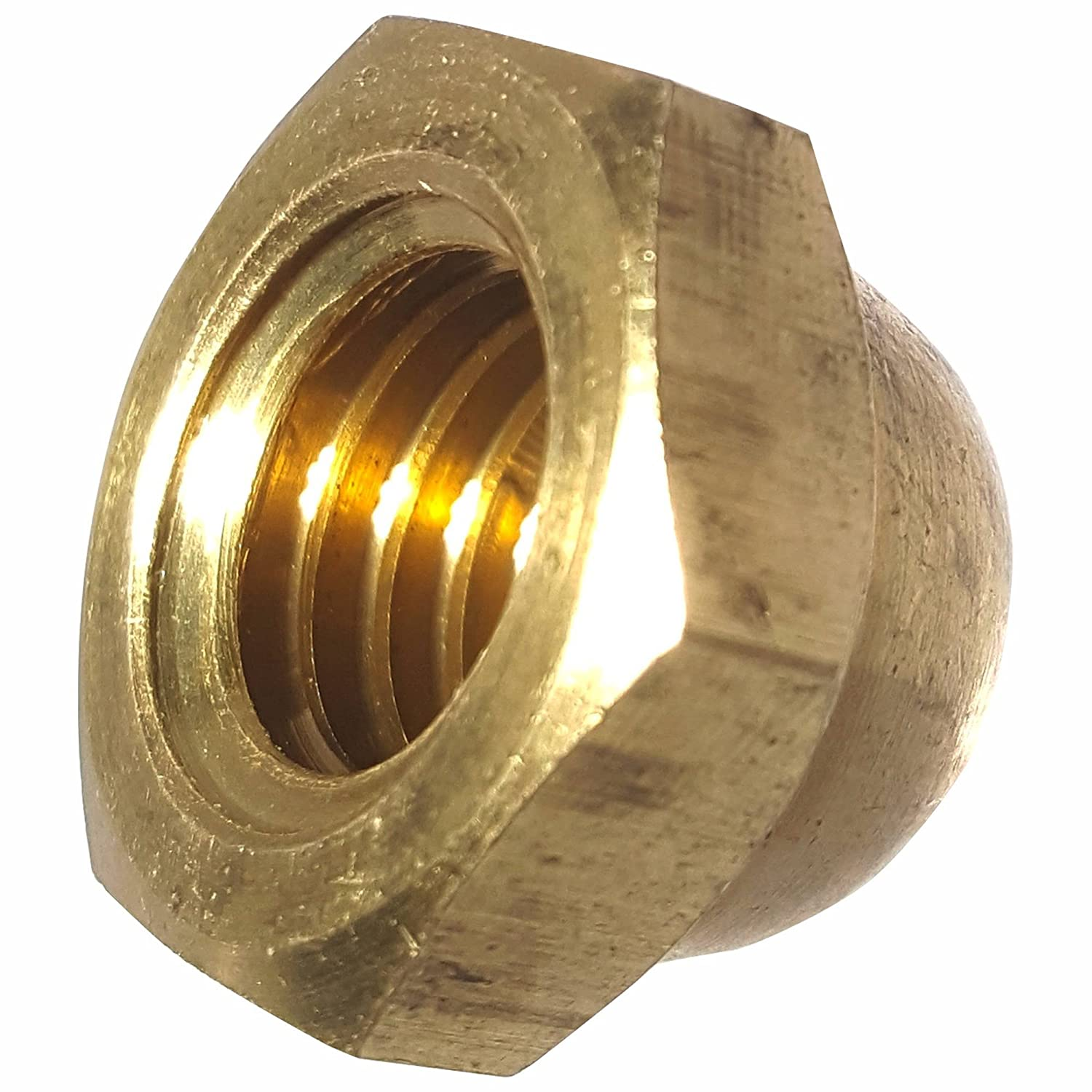 Quantity 50 Fastenere Solid Brass 8-32 Hex Cap Nuts Grade 360 Plain Finish Commercial