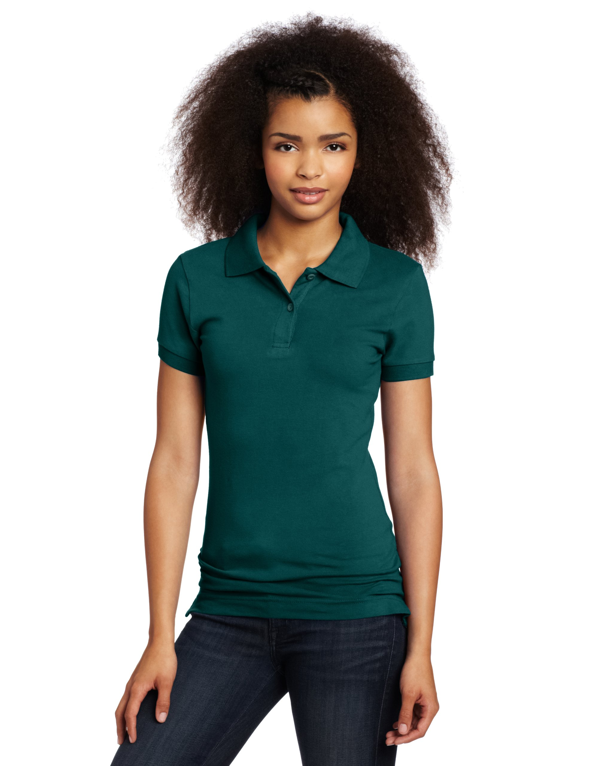 Lee Uniforms Juniors Stretch Pique Polo, Hunter Green, Large by LEE