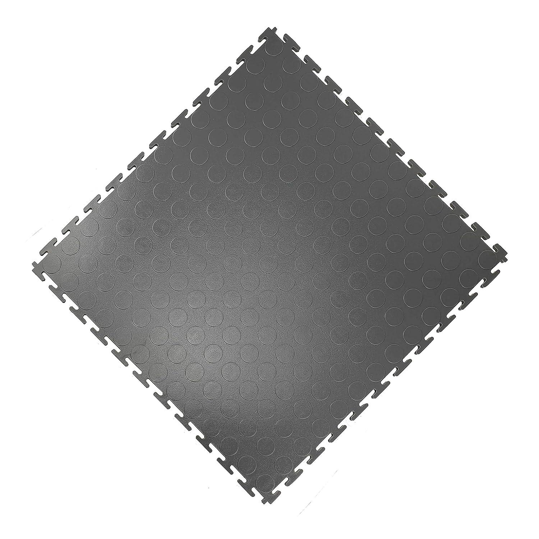 Vario24 PVC Bodenfliese 2,5 m/² extrem belastbar Bodenbelag Industrieboden nicht die Light Version Garagenboden 10 Fliesen Noppen-dunkelgrau