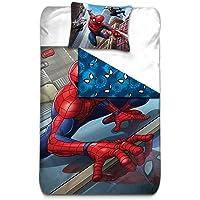 AYMAX S.P.R.L Funda de edredón de Spiderman Reversible con Funda de Almohada - Microfibra - Color Rojo, 200 x 140 cm