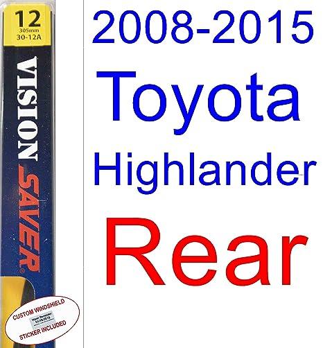 Amazon.com: 2008-2015 Toyota Highlander Wiper Blade (Rear) (Saver ...
