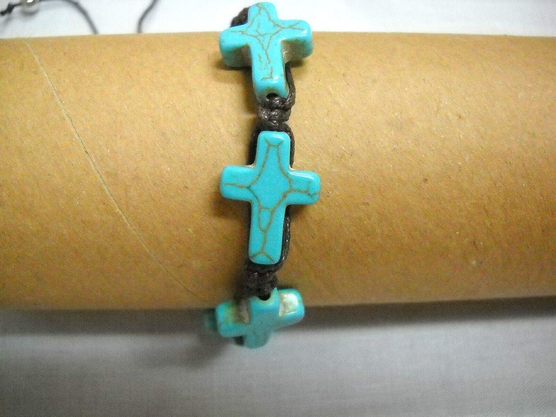 Turquoise Blue HOWLITE 4 Cross on Chocolate Brown Macrame ADJ Bracelet OR Anklet KEZ-512
