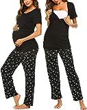 Ekouaer Women's Maternity Nursing Pajamas Sets Breastfeeding Printed Sleepwear Short Sleeve 2 Pcs Henley Top and Pants Set