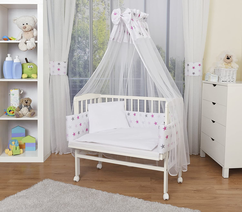 Cuna para bebé madera blanca con equipamiento completo