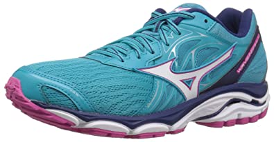 19e136fe7647 Mizuno Women's Wave Inspire 14 Running Shoe, Peacock Blue/Fuchsia Purple, 7  B