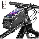 Htwon 自転車トップチューブバッグ フレームバッグ フロントバッグ 防水 耐圧 防塵 軽便 収納便利 多機能 二重構造 イヤホン穴付き 取り付け簡単 大容量 6.5インチまでのすべてのスマホに対応 iPhoneX/XS MAX/8Plus/8/Samsung S10+/Sonyなど マウンテンバイク/ロードバイク/クロスバイクなど多種車種対応
