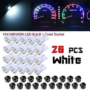 "PA 20x T10 168 194 Led instrument Panel Dash Light Bulb 1/2"" Twist Lock Socket -12V (White)"
