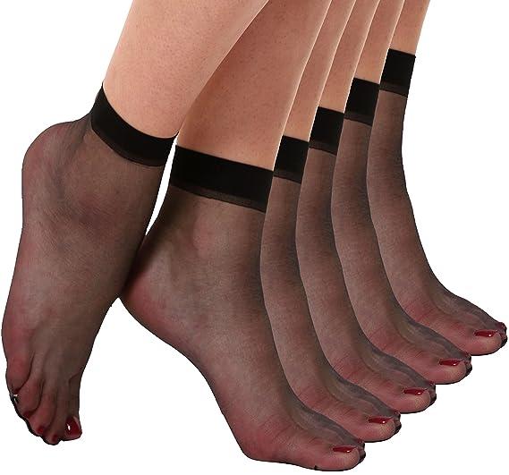 2f1f88f2d36 Florboom Womens Summer Ankle High Silk Sheer Dress Socks Pantyhose Black 5  Pack