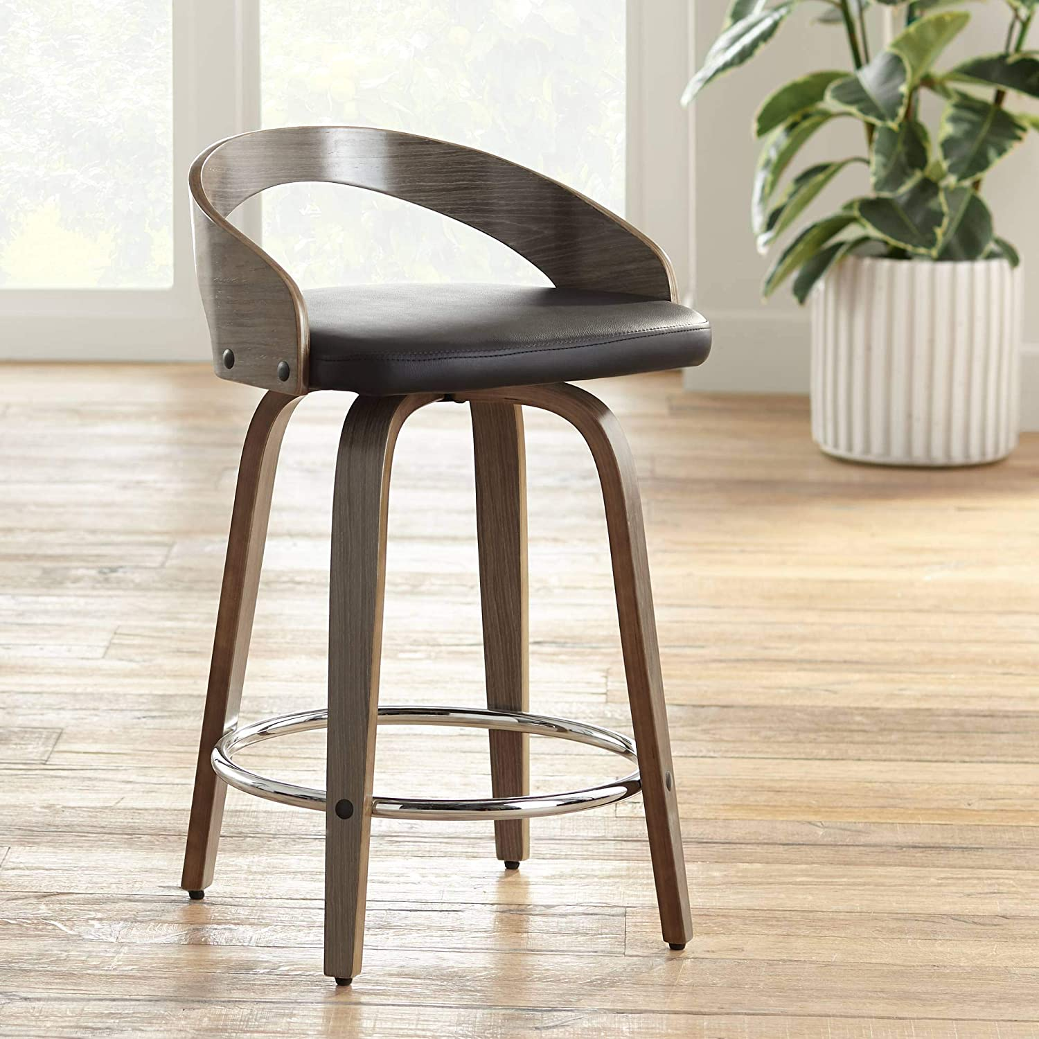 Marvelous Gratto 24 Black Faux Leather Gray Wood Swivel Counter Stool Andrewgaddart Wooden Chair Designs For Living Room Andrewgaddartcom