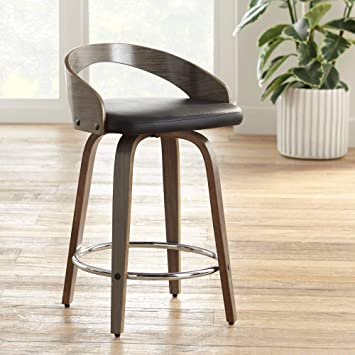 Wondrous Gratto 24 Black Faux Leather Gray Wood Swivel Counter Stool Forskolin Free Trial Chair Design Images Forskolin Free Trialorg