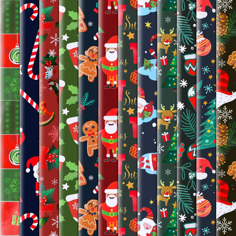 Konsait 12 Sheets Folded Large Sheets of Christmas Wrapping Paper Traditional Gift Wrap, 74 x 50cm, Xmas Festive Designs Bulk, Santa, Snowman,Snowflake,Tree,Reindeer Birthday Holiday Gifts Decor