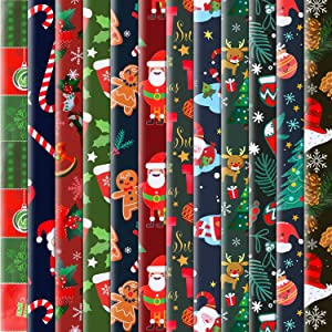 Konsait 12 Sheets Folded Large Sheets of Christmas Wrapping Paper Traditional Gift Wrap, 74 x 50cm, Xmas Festive Designs Bulk, Santa, Snowman,Snowflake,Tree,Reindeer Birthday Holiday Gifts Decor