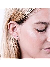 Rose Gold Cross Stud Earrings - Designer Handmade Minimalist Christian Post Earrings