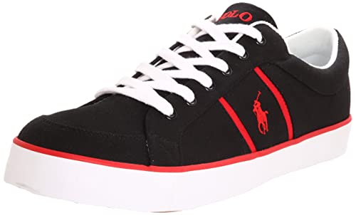 Polo Ralph Lauren Bolingbrook Black Red Mens Trainers Size 42.5 EU ...