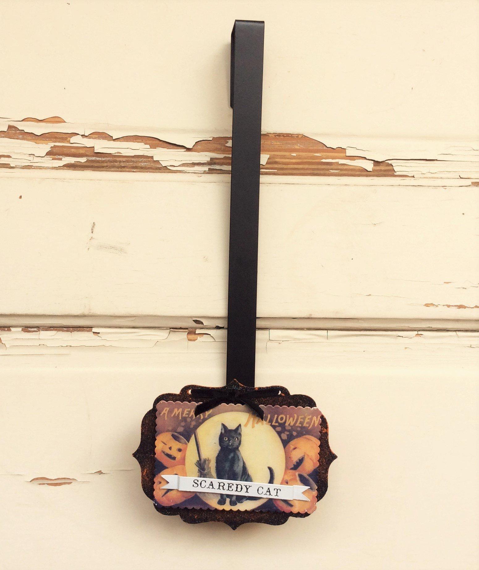 AG Designs Halloween Decor - Wreath Door Hanger Vintage Scaredy Cat #16OCT16 by Agape Gifts Designs (Image #1)