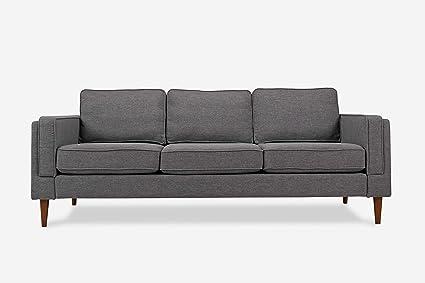 ALBANY PARK ALBANY3S Mid-Century Modern Sofa, Grey Fabric