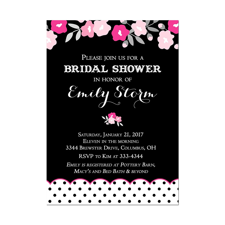 851584be573c7 Amazon.com: Black and White Polka Dot Bridal Shower Invitation with ...