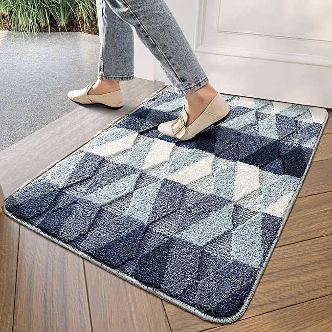Dexi Indoor Doormat Front Door Rug 24 X35 Absorbent Machine Washable Inside Door Mat Non Slip Low Profile Entrance Rug For Entry Back Door Blue Garden Outdoor Amazon Com