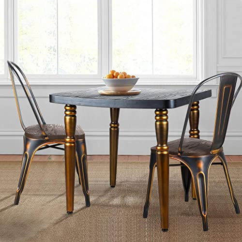 LCH Dining Table Retro-style Solid wooden desktop Table with Delicate Polishing Finish None-slip Metal Legs