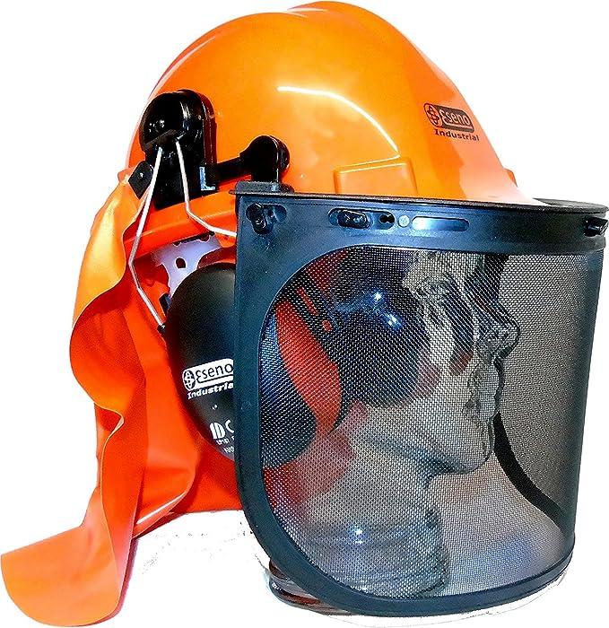 Casco Eseno Industrial de seguridad, con protectores de oído, con viseras, con protector para el cuello y perfecto para trabajos de silvicultura o con ...