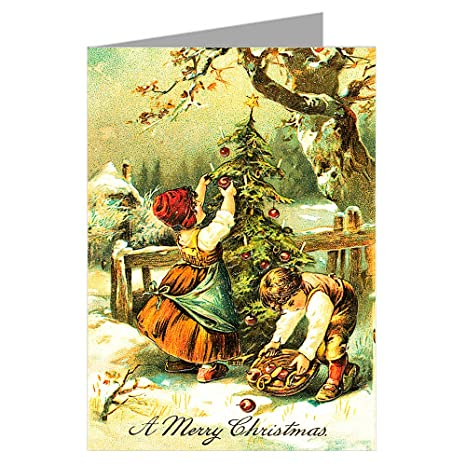 Victorian Children Decorating a Christmas Tree with Candles and Apples  Vintage Greeting Cards Boxed Set
