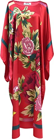 Robe D Interieur Kimono Femme Robe De Chambre Style Boubou Satine Rouge Taille Unique Amazon Fr Vetements Et Accessoires