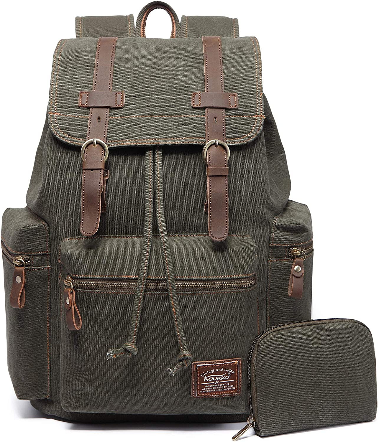 KAUKKO Vintage Casual Canvas and Leather Rucksack Backpack