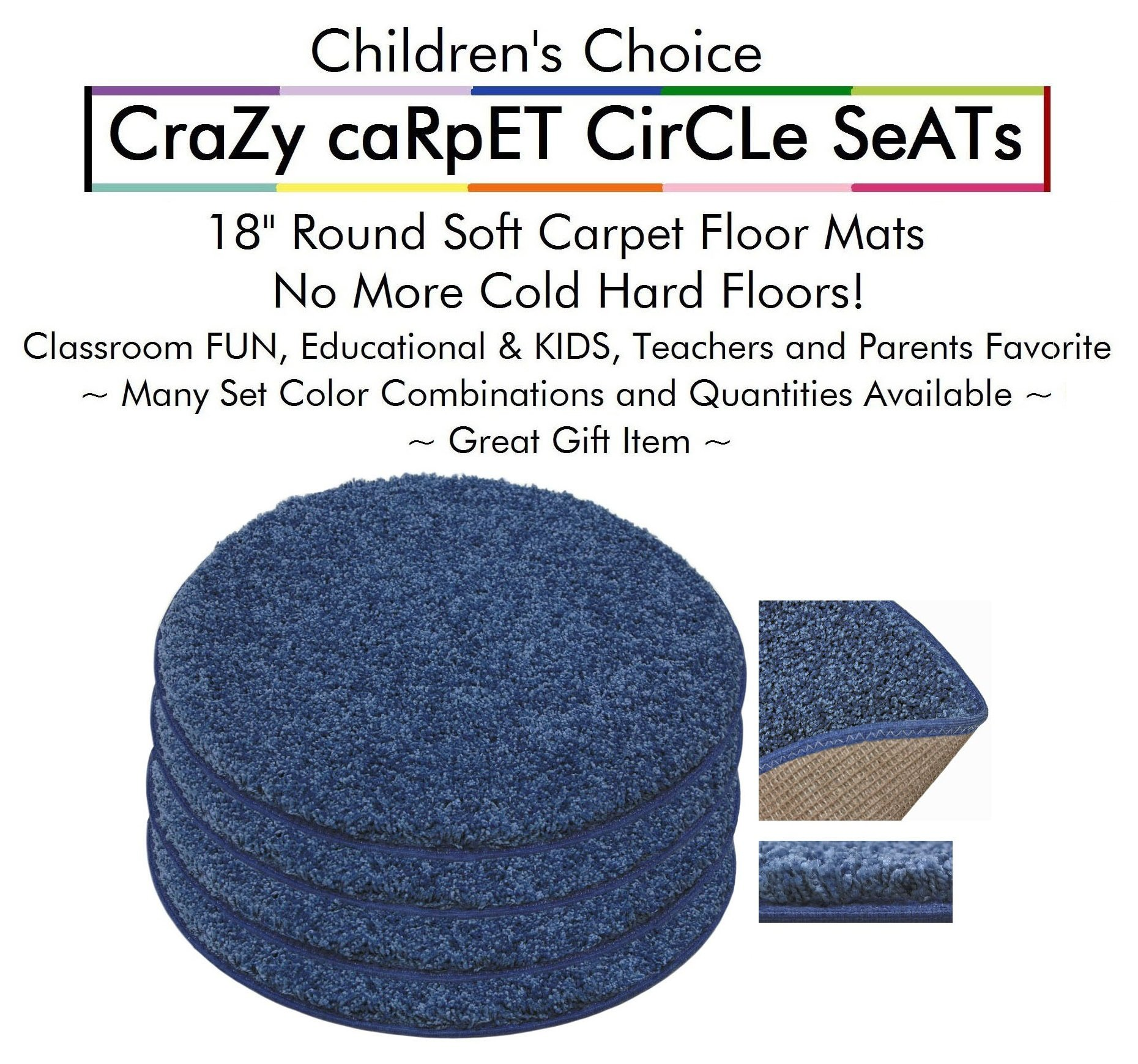 "Set 4 - Super Hero Kids CraZy CarPet CirCle SeaTs 18"" Round Soft Warm Floor Mat - Cushions 