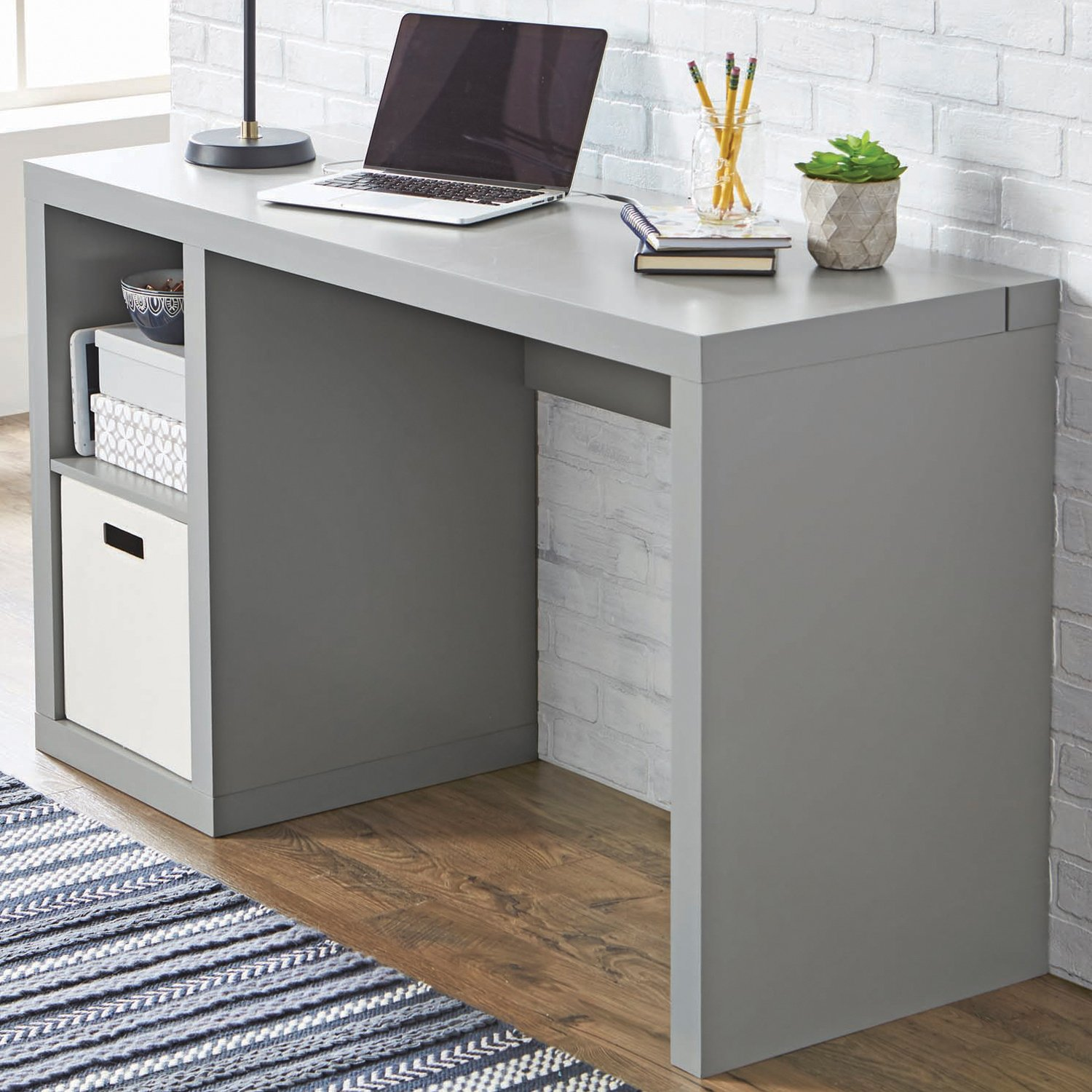 Better Homes and Gardens Cube Organizer Writing Desk, Gray