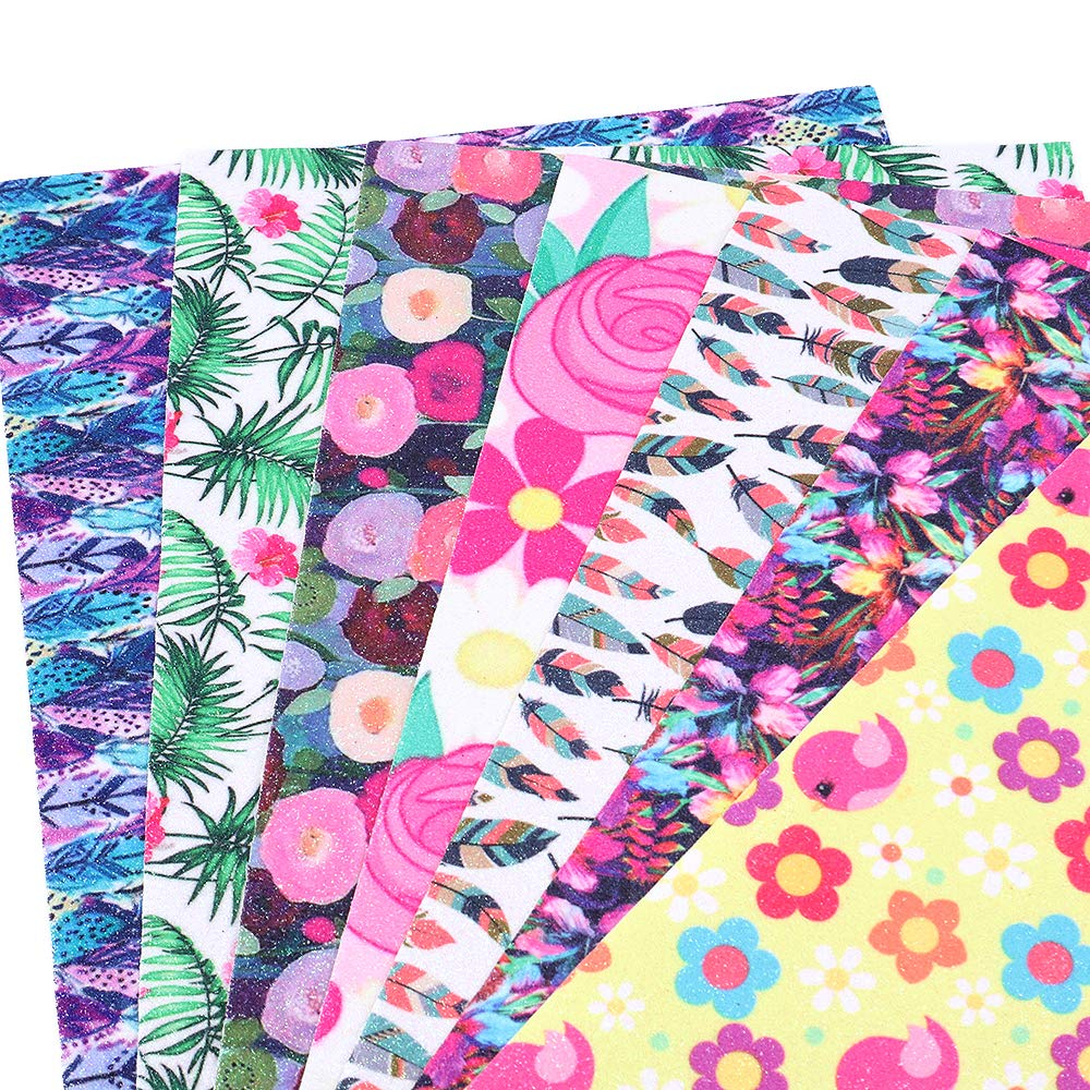 David accessories Shiny Superfine Glitter Faux Leather Sheets Flowers Printed Synthetic Leather Fabric 7 Pcs Canvas Back for Sewing DIY Craft Earring Making (Flowers) by David accessories (Image #3)