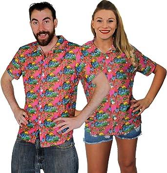 I LOVE FANCY DRESS LTD Unisex Camisa Hawaiana Hawaii Camisa Palmera Playa Surf Fiesta Verano Traje