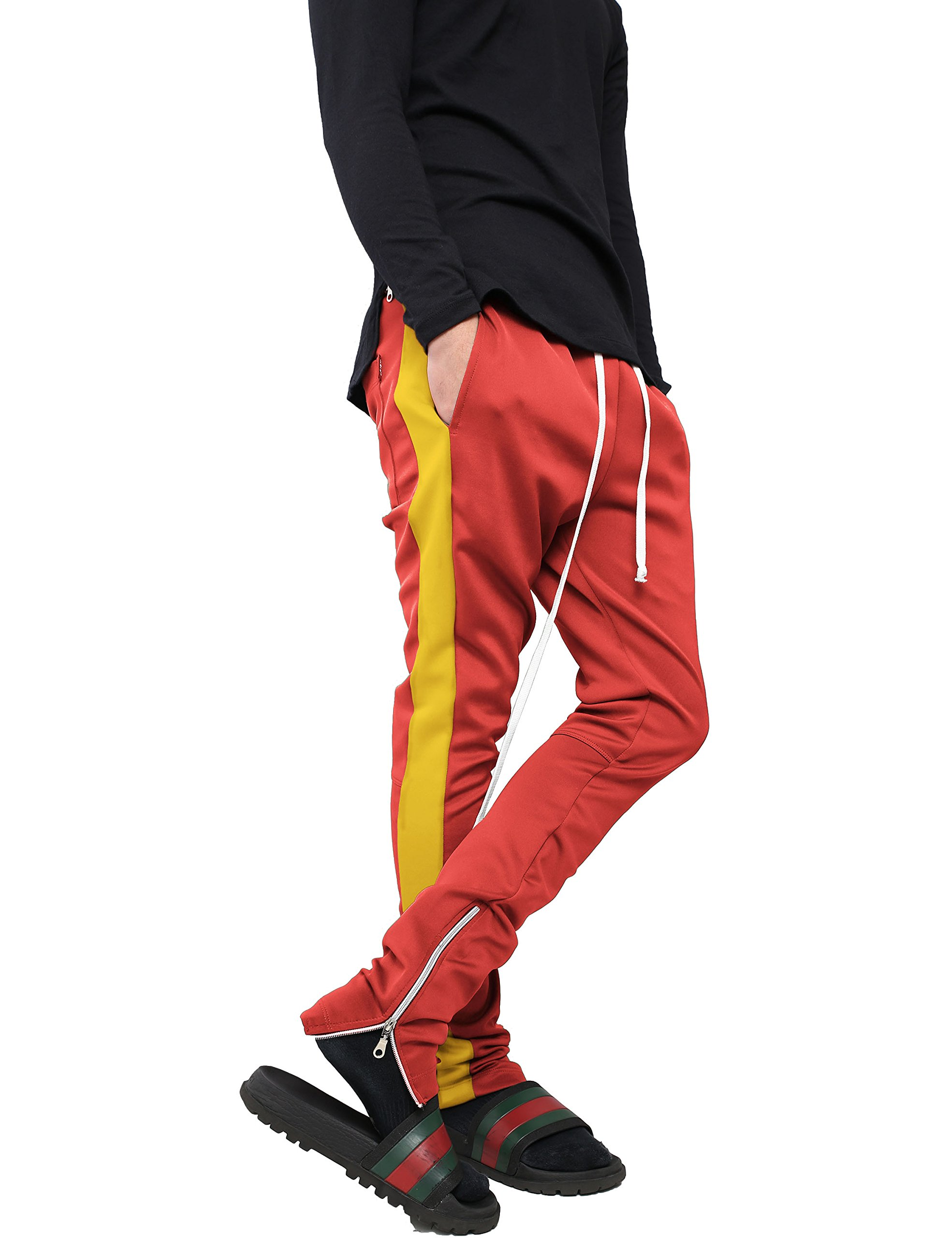 Hat and Beyond WIV Mens Stripe Track Pants Skinny Fit Stretch Elastic Slim Trouser (Large, p122_red/YEL)