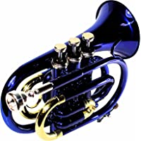 Ferris Bb Pocket Trumpet with Mouthpiece and Case In 5 Different Colours (Blue)
