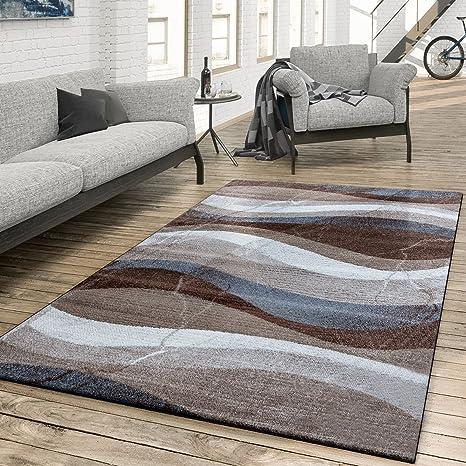 T&T Design Tapis Salon Moderne ondulés musterung Gris Marron Beige,  Polypropylène, 60 x 100 cm