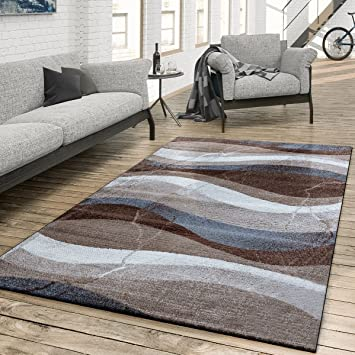 Amazon.de: T&T Design Teppich Wohnzimmer Modern Gewellte Musterung ...