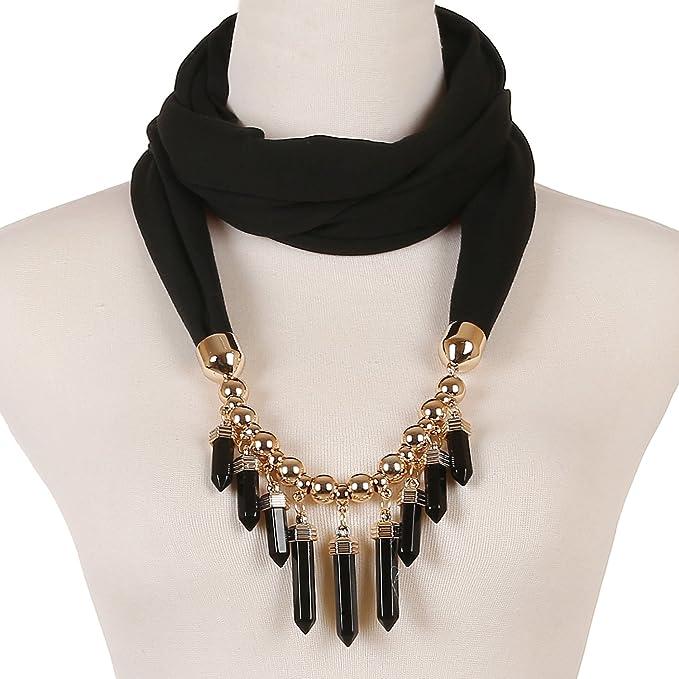 Lerdu womens bullet pendant scarf necklace bar fringe infinity lerdu womens bullet pendant scarf necklace bar fringe infinity jewelry scarves early spring black aloadofball Images