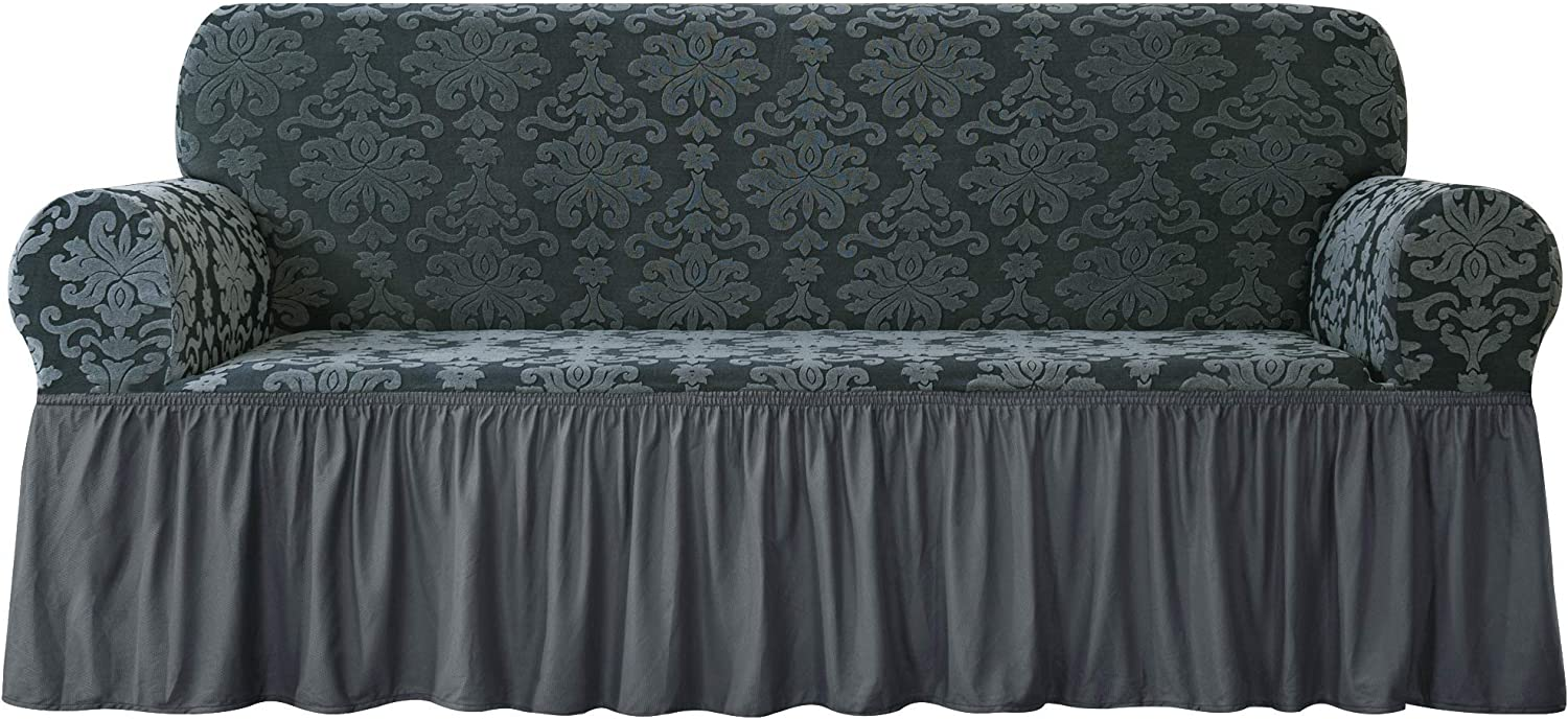 CHUN YI Stretch Chair Slipcover with Ruffle Skirt,1-Piece Couch Pets Jacquard Damask Universal Furniture Covers for 3 Seat Armchair in Living Room, Large, Greenish Gray