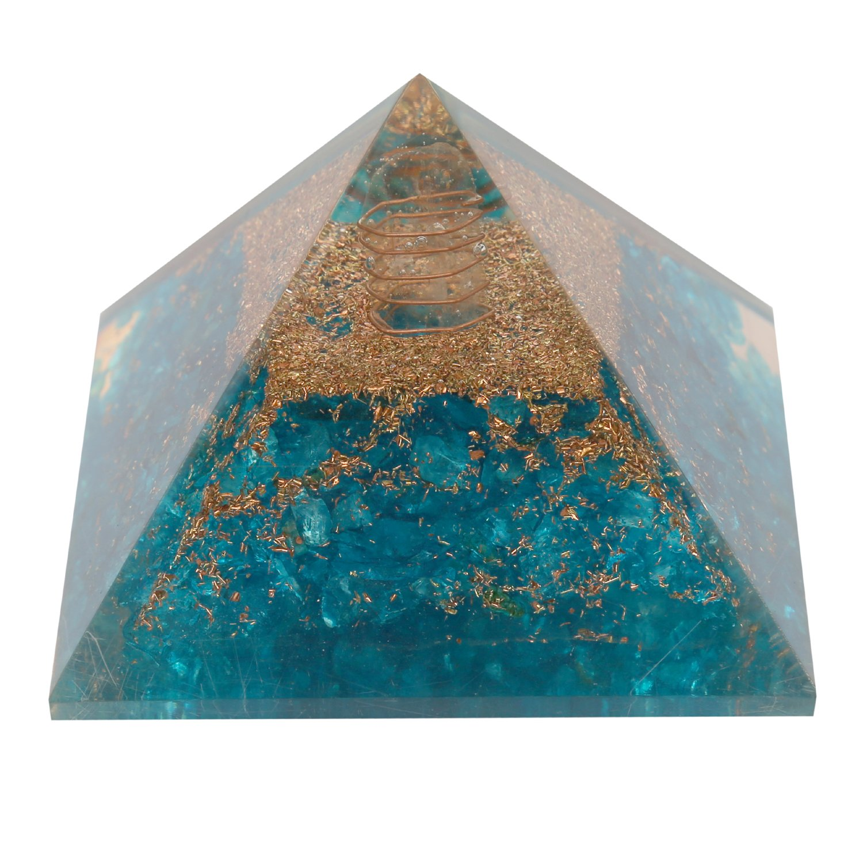 Aatm Reiki Energized chakra healing Turquoise Orgone Pyramid With Clear Crystal Gemstone/EMF Protection Meditation Yoga Energy Generator