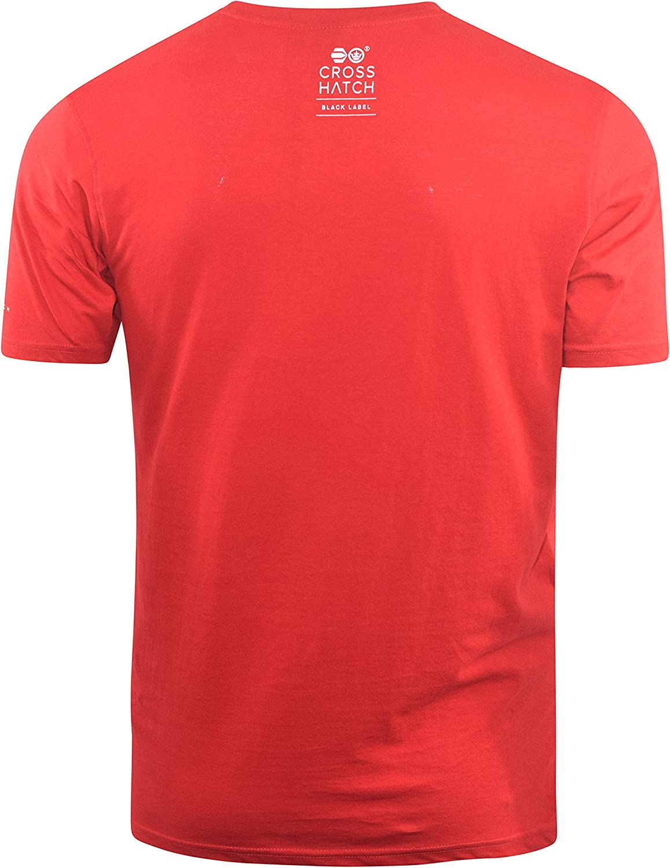 Crosshatch Mens T-Shirt Graphic Crew Neck Tee Top Kaeffmore Samba Red