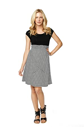 40136fbaad992 Maternal America Black Stripe Front Tie Maternity Dress (Large) at ...