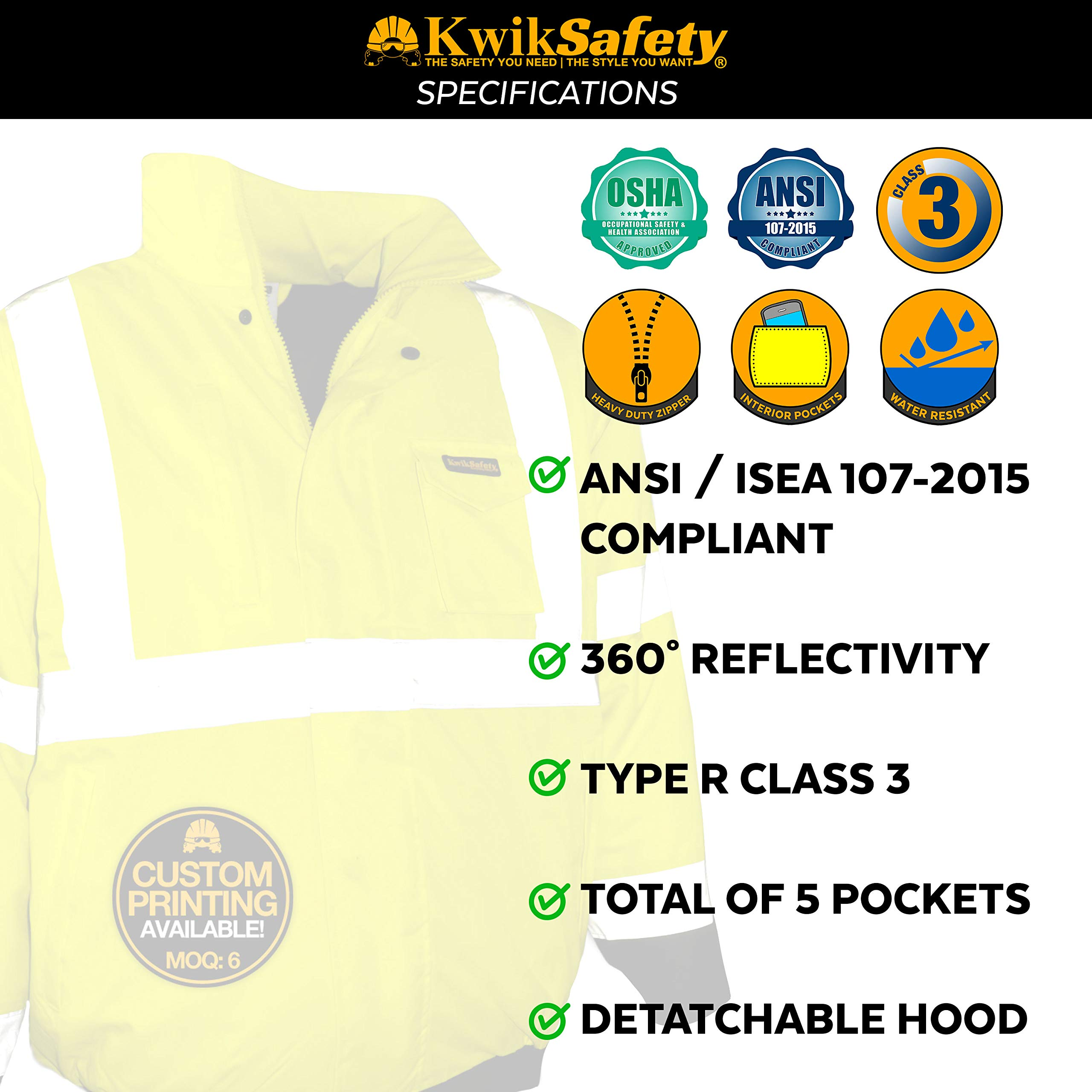 KwikSafety (Charlotte, NC) GUARD   Class 3 Black Cuff Safety Bomber Jacket   High Visibility ANSI OSHA PPE   Foldable Hood Reflective Winter Water Resistant Construction Workwear Men   X-Large by KwikSafety (Image #6)