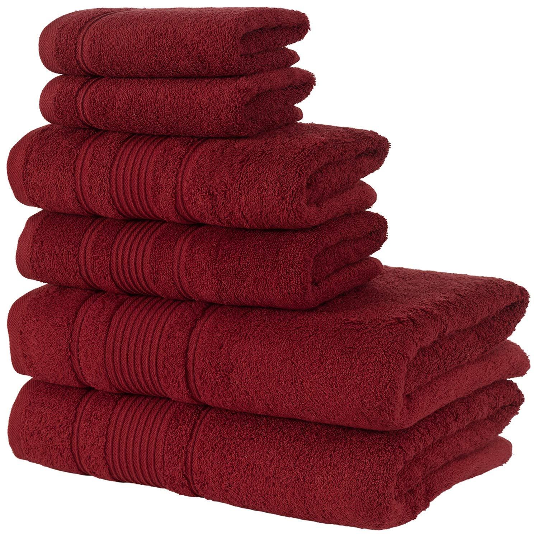 Qute Home Spa & Hotel Towels 6 Piece Towel Set, 2 Bath Towels, 2 Hand Towels, and 2 Washcloths - Burgundy
